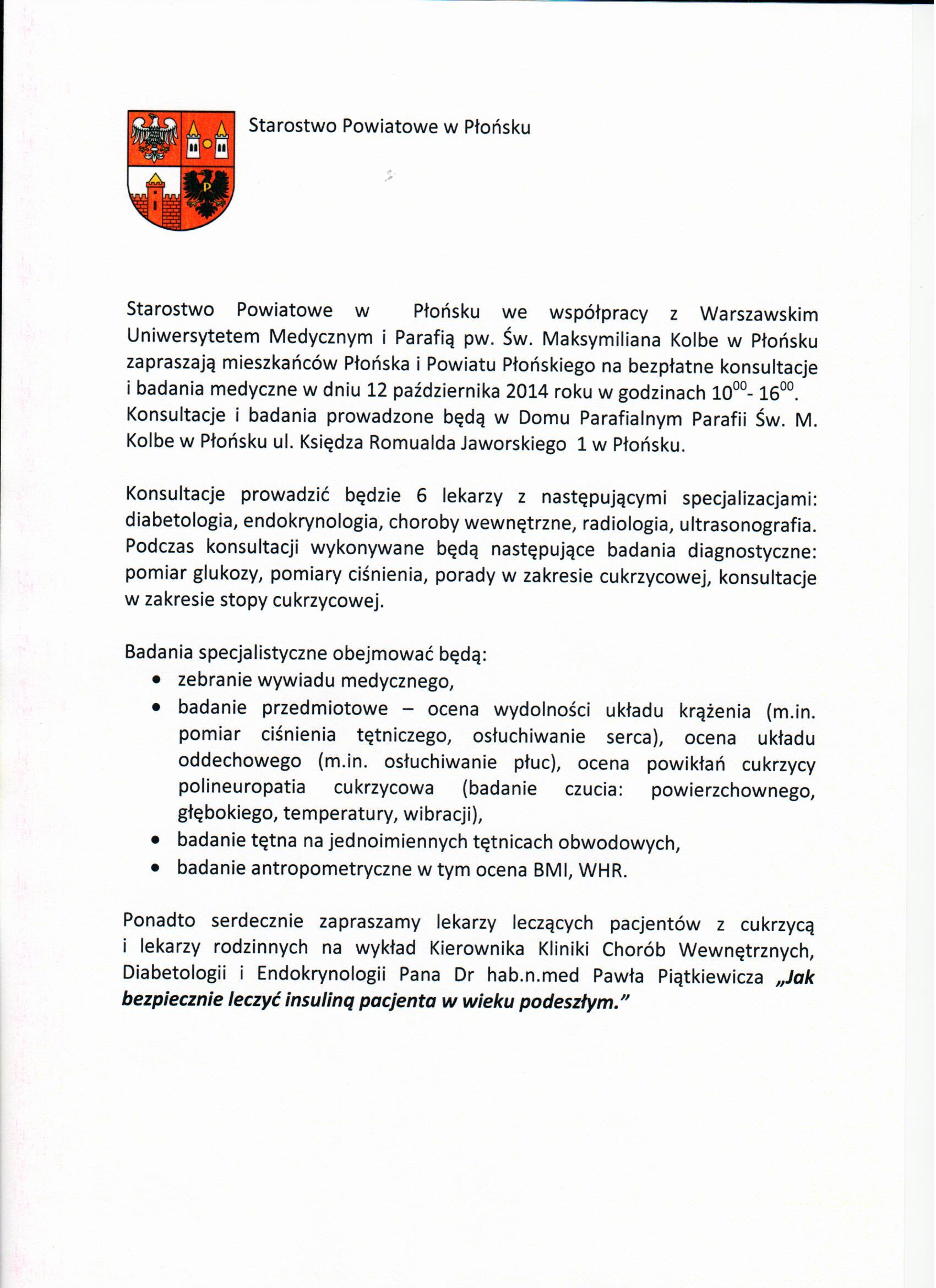 Bezpłatne konsultacje i badania medyczne – 12.10.2014